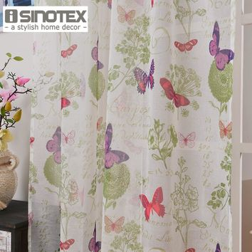 Window Curtain Butterfly Printed Pattern Linen&Cotton Fabric Tulle Transparent Sheer For Home Living Room Screening 1PCS/Lot