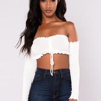 Serena Off Shoulder Smock Top - Ivory