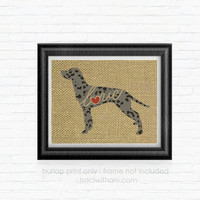 Dalmation Love - Burlap Printed Wall Art :  Silhouette, Black, Spotted, Spots, Dog, Wall Art, Rustic, Dog Lover