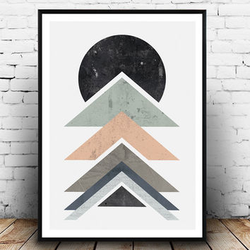 Abstract print, Home decor, Geometric art, watercolor abstract, pastel colors, modern print, wall print, mid century poster, nordic design