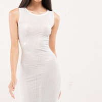Sleeveless Mesh Midi Dress with White Sequins