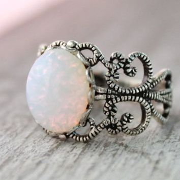 Sterling Silver Opal Ring, White Opal Rings, October Birthstone Rings, Pink Opal Rings, Opal Jewelry, Vintage Glass Opal, Filigree Ring