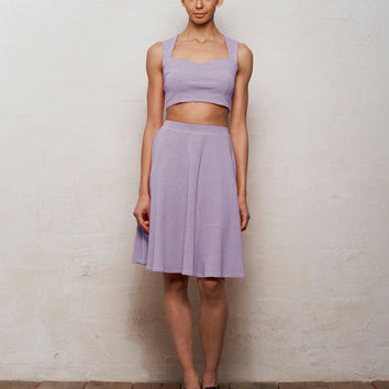 Mix n Match Kirsten Bralet and Skater Skirt Set in Pastel Lilac Purple