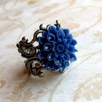Adorn  Royal Blue Blossom and Filigree