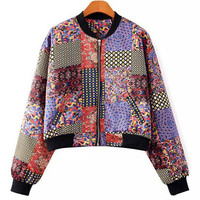 Vintage Print Zip-Up Jacket