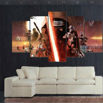 The Last Jedi Star Wars Montage Large Framed Canvas