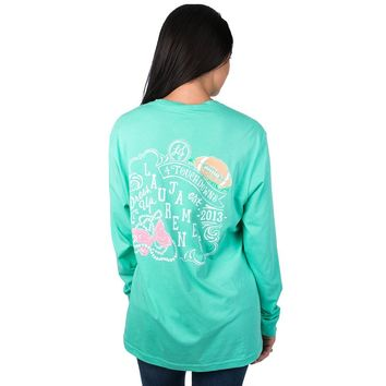 Dress Up Touchdowns Long Sleeve Tee Shirt in Seafoam by Lauren James - FINAL SALE