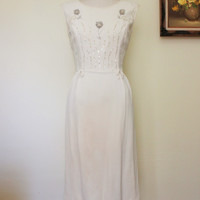 Vintage 1960s White Beaded Wiggle Dress With Sequins