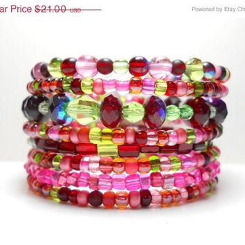 ON SALE Memory Wire Bracelet Pink Red Green Stacked Beaded Wrap