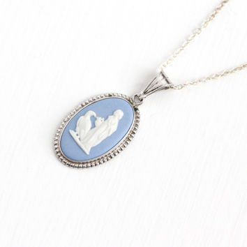 Vintage Sterling Silver Wedgwood Goddess Hebe & the Eagle Cameo Necklace - Blue Jasperware Oval Bird Pendant Charm Jewelry Made in England