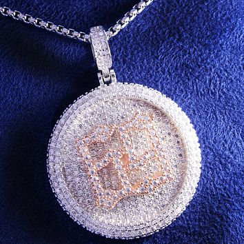 Men's Two Tone Spinner Circle Rapper 69 Custom Pendant Chain