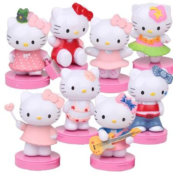 8pcs/set Hello Kitty action Figure mini Anime hello kitty DIY cake models Car decoration Doll for Chritmas party
