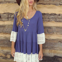 Pleated Lace Bell Sleeve Shift Dress