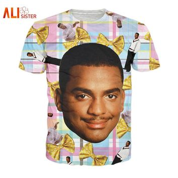 Alisister Carlton T-Shirt Fresh Prince Print Tees Carlton Banks 90's Tee Fresh Prince Of Bel-Air Funny Women/men 3d T Shirt
