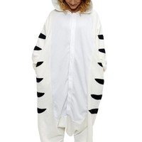 White Tiger Kigurumi - Adult Pajamas Halloween Costumes (One Size Fits All)