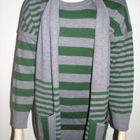 Elio Women Celine Striped Sweater With Matching Scarf -Green & Gray