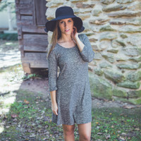 Speckled Dress in Charcoal