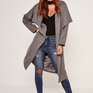 Missguided - Brushed Faux Wool Waterfall Coat Grey