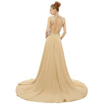 Chiffon Evening Dress Beads A Line Scoop Neck Sleeveless Open Back Long Evening Dresses