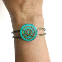 Lotus flower bracelet / spiritual jewelry / lotus flower jewelry / flower bangle bracelet / metal bracelet / flower jewelry / teal bracelet