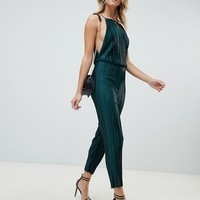 PrettyLittleThing open back culotte jumpsuit in green at asos.com