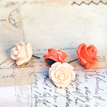 Light Peach and Coral Rose Posts.