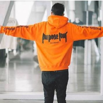 Purpose Tour Men Rap Justin Bieber Sweatshirts Alchemist Staff Hood new hip hop Streetwear Front Pocket Hoodies Fleece