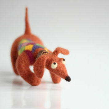 Happy Dachshund With A Crazy Sweater - Needle Felted  Art Doll - Home Decoration