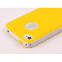 Pandamimi Dexule Yellow White Fashion Sweety Girls TPU , PC 2-Piece Style Hard Case Cover for iPhone 4 4S with Screen Protector: Cell Phones & Accessories