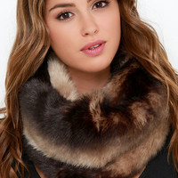 Aerial Altitudes Brown Faux Fur Infinity Scarf