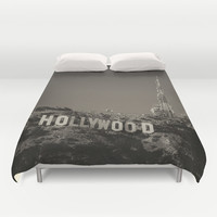 Vintage Hollywood sign Duvet Cover by Claude Gariepy