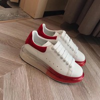 ALEXANDER MCQUEEN  Men Fashion Boots fashionable Casual leather Breathable Sneakers Running Shoes Sneakers
