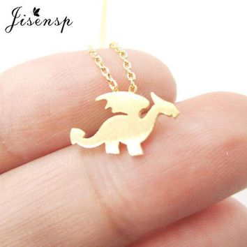 Jisensp Fashion Dragon with Wings Necklace Silhouette Shaped Charm Women Necklace Animal Jewelry Cute Pendant Necklace N134