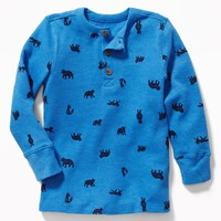 Printed Thermal Henley for Toddler Boys|old-navy