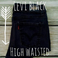 Levi's Black High Waisted Frayed Vintage Shorts