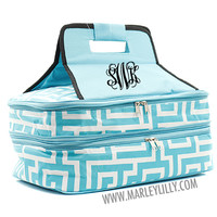 Monogrammed Aqua Greek Keys with Black Trim Insulated Double Casserole Tote