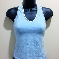 Light Blue Halter Neck Tank Top Size Small