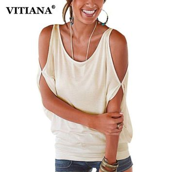 VITIANA 2017 Women Casual Loose T shirt Sexy Off Shoulder Batwing Sleeve O Neck Cut Out Summer Female Tops Tee 11 Color