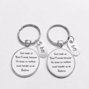 Best Friend Gift God Made Us Best Friends Christmas Gift Keychain Set
