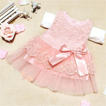 Baby Girls Sleeveless Lace Tutu Dress Crochet Princess Dress Kids With Bow Belt Party Dresses For 0-2 Year Girls