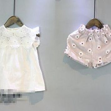 2Pcs Lace set baby clothes 2017 Summer Toddler Kids Baby Girls Outfits Clothes Lace Tops+Floral Pants Shorts outfits Set