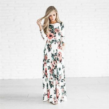 HOT SALE Women's Fashion Spring 3/4 Sleeve Classic Rose Maxi Dresses