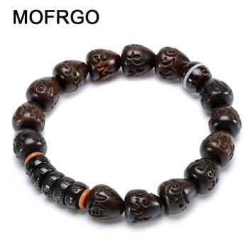 MOFRGO Natural Wood Beads OM Personalized Bracelet Men Coconut Shell Olive Kernel Meditation Bracelet For Women And Men Jewelry