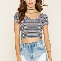 Geo-Striped Crop Top