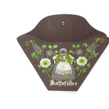 Vintage Coffee Filter Holder, Danish Folk Art, Kaffefiltre, Hand Painted Wood Wall Hanging, Farmhouse Kitchen, Tole Painted Decor, Kaffe