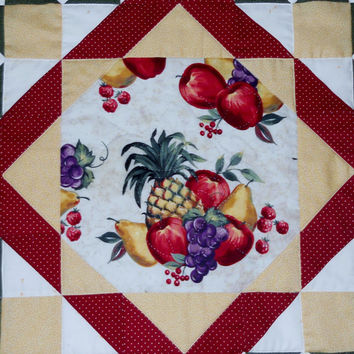 Fall Autumn Fruit Quilted Table Topper Vintage Style