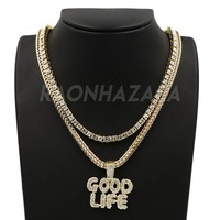 Hip Hop Iced Out GOOD LIFE Pendant W/ Franco Chain / Tennis Choker Chain