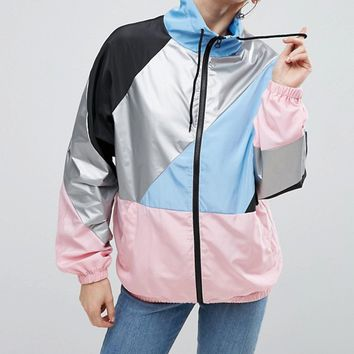 ASOS Colourblock Rainmac with Funnel Neck at asos.com