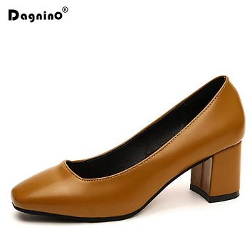DAGNINO Women High Heels Pumps Square Toe Boat Shoes Black Leather Heeled Woman Vintage Work Ladies Shoes Shallow