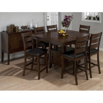 Jofran 337-54 Taylor 8 Piece Butterfly Leaf Counter Height Table Set w/ Storage Base